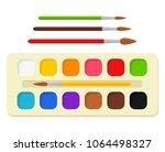 set of bright watercolor paints ... | Shutterstock .eps vector #1064498327