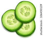 Fresh Cucumber Slice Isolated...