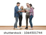 the four people drink a beer on ... | Shutterstock . vector #1064501744