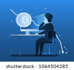 concept of crypto currency.... | Shutterstock .eps vector #1064504285