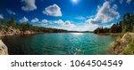beautiful summer quarry lake in ... | Shutterstock . vector #1064504549