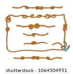 marine rope frames and knots... | Shutterstock .eps vector #1064504951
