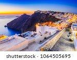 santorini  greece. firostefani... | Shutterstock . vector #1064505695