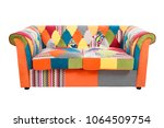 colorful patchwork sofa... | Shutterstock . vector #1064509754