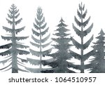 pine trees forest in fog.... | Shutterstock . vector #1064510957