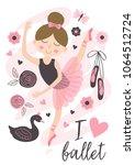 poster with beautiful ballerina ... | Shutterstock .eps vector #1064512724