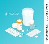 isometric pharmacy medicine... | Shutterstock .eps vector #1064514995