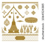 set of thai art  buddhism... | Shutterstock .eps vector #1064524385