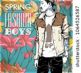 floral vector card with fashion ...   Shutterstock .eps vector #1064526587