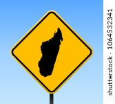 madagascar map road sign.... | Shutterstock .eps vector #1064532341