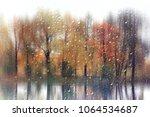 Glass Wet Autumn Background ...