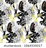 modern tropical pattern with... | Shutterstock .eps vector #1064535017