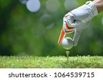 hand hold golf ball with tee on ...   Shutterstock . vector #1064539715