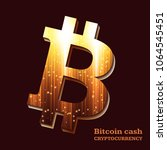 bitcoin sign on dark background.... | Shutterstock .eps vector #1064545451