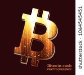 bitcoin sign on dark background.... | Shutterstock .eps vector #1064545451