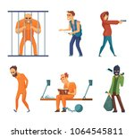 criminals and prisoners. set of ... | Shutterstock .eps vector #1064545811