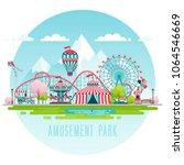 amusement park  urban landscape.... | Shutterstock .eps vector #1064546669