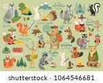 camping animals hand drawn... | Shutterstock .eps vector #1064546681