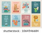 travel animals card set with... | Shutterstock .eps vector #1064546684