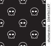 black and white skull cartoon... | Shutterstock .eps vector #1064561147