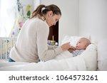 cute sick child  baby boy ... | Shutterstock . vector #1064573261