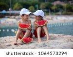 two little children  boy... | Shutterstock . vector #1064573294