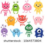 cute and funny vector monsters... | Shutterstock .eps vector #1064573804