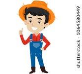 vector illustration of a farmer ... | Shutterstock .eps vector #1064580449