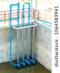 Small photo of Pvc pipe sewerage water aeration and cleaning in process of sewage treatment, biological treatment plant