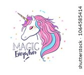unicorn head silhouette .... | Shutterstock .eps vector #1064585414