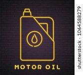 car motor oil bottle neon light ... | Shutterstock .eps vector #1064588279