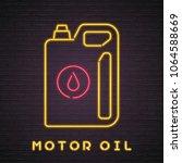 motor oil bottle neon light... | Shutterstock .eps vector #1064588669