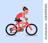 woman rides a bicycle | Shutterstock .eps vector #1064590181