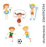 lovely funny children play the... | Shutterstock .eps vector #1064592554