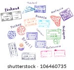 real visa stamps from 9... | Shutterstock .eps vector #106460735