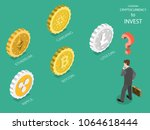 choosing cryptocurrency flat...   Shutterstock .eps vector #1064618444