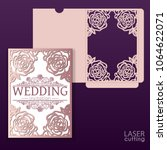die laser cut wedding card...   Shutterstock .eps vector #1064622071