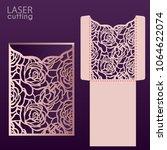 laser cut wedding invitation...   Shutterstock .eps vector #1064622074