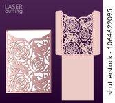 laser cut wedding invitation...   Shutterstock .eps vector #1064622095