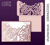 laser cut wedding invitation... | Shutterstock .eps vector #1064622101