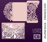 laser cut wedding invitation... | Shutterstock .eps vector #1064622104