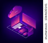 cloud storage 3d isometric... | Shutterstock .eps vector #1064630141