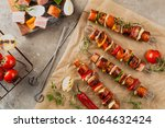grilled skewers with sausage ... | Shutterstock . vector #1064632424