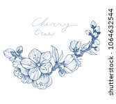 almond blossom branch isolated... | Shutterstock .eps vector #1064632544