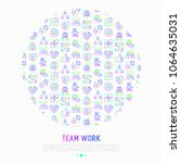 teamwork concept in circle with ... | Shutterstock .eps vector #1064635031