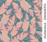 tropical exotic banana leaves... | Shutterstock .eps vector #1064636531
