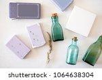 lavender soap  paper boxes ... | Shutterstock . vector #1064638304