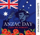 anzac day. soldier salute. lest ... | Shutterstock .eps vector #1064642075