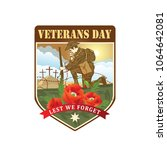 anzac day. soldier salute. lest ... | Shutterstock .eps vector #1064642081