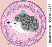 a cute cartoon hedgehog with a... | Shutterstock .eps vector #1064642357